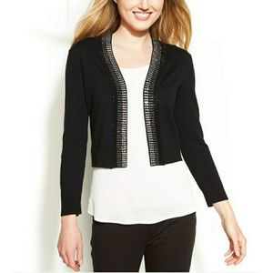 Calvin Klein Rhinestone Sweater Shrug black Large